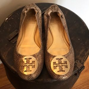 Gold and Brown Snakeskin Tory Burch Flats Size 8